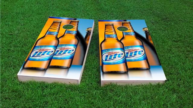 Miller Light Themed Custom Cornhole Board Design