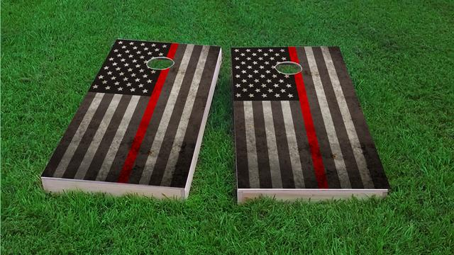American Thin Red Line Themed Custom Cornhole Board Design