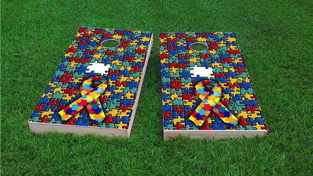Autism Awareness Themed Custom Cornhole Board Design