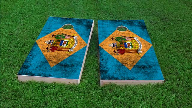 Worn State (Delaware) Flag Themed Custom Cornhole Board Design