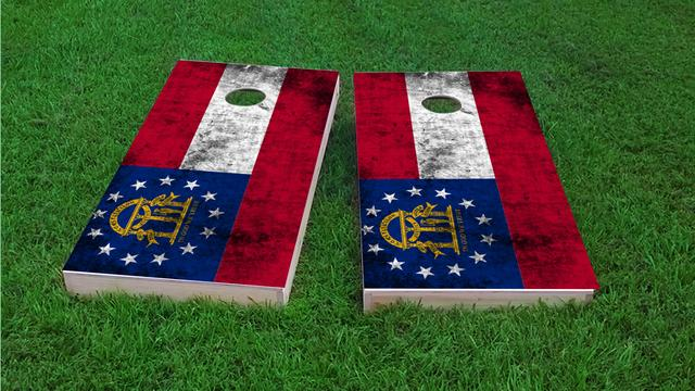 Worn State (Georgia) Flag Themed Custom Cornhole Board Design