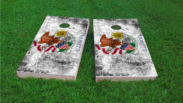 Worn State (Illinois) Flag Themed Custom Cornhole Board Design