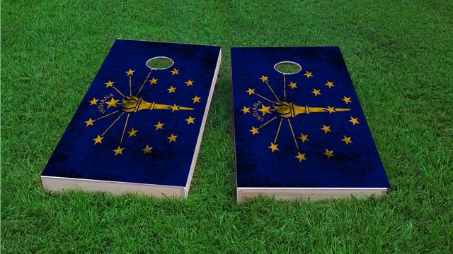 Worn State (Indiana) Flag Themed Custom Cornhole Board Design