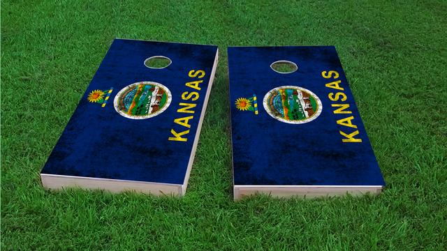Worn State (Kansas) Flag Themed Custom Cornhole Board Design