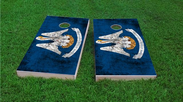 Worn State (Louisiana) Flag Themed Custom Cornhole Board Design