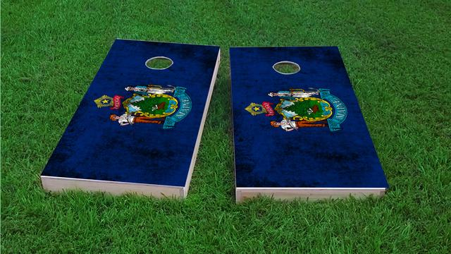 Worn State (Maine) Flag Themed Custom Cornhole Board Design