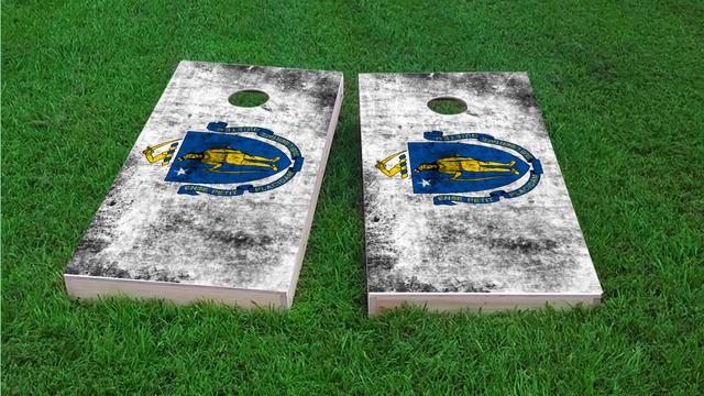 Worn State (Massachusetts) Flag Themed Custom Cornhole Board Design