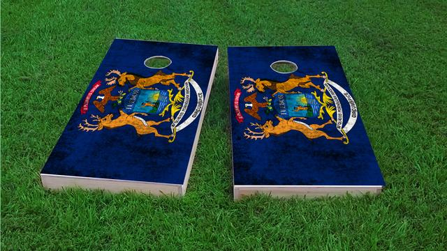 Worn State (Michigan) Flag Themed Custom Cornhole Board Design