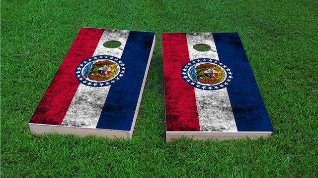 Worn State (Missouri) Flag Themed Custom Cornhole Board Design