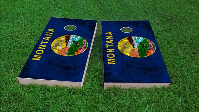 Worn State (Montana) Flag Themed Custom Cornhole Board Design