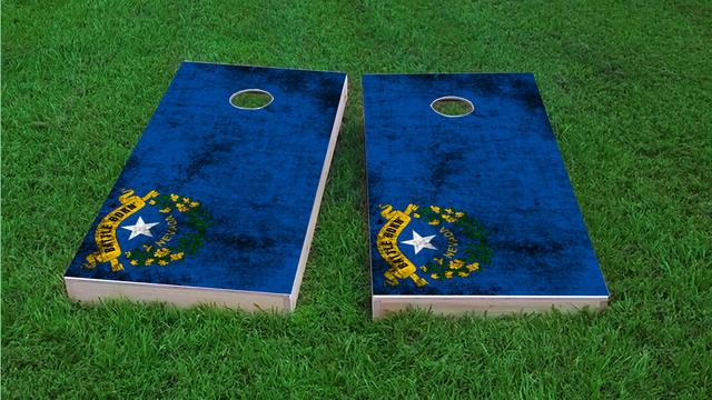 Worn State (Nevada) Flag Themed Custom Cornhole Board Design