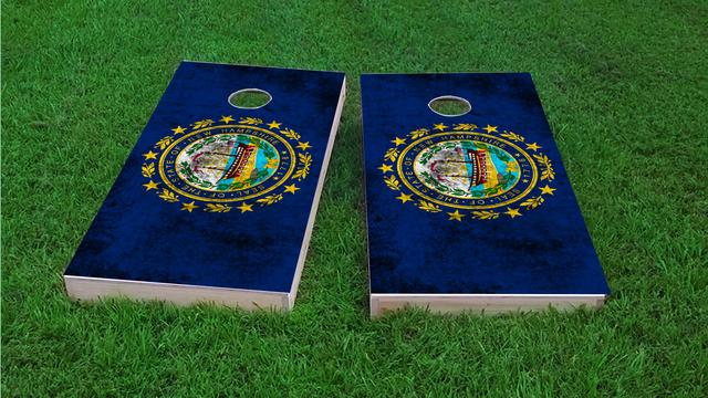 Worn State (New Hampshire) Flag Themed Custom Cornhole Board Design