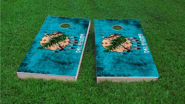 Worn State (Oklahoma) Flag Themed Custom Cornhole Board Design