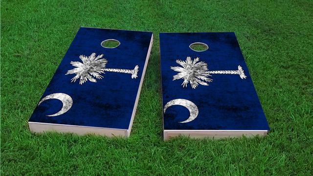 Worn State (South Carolina) Flag Themed Custom Cornhole Board Design