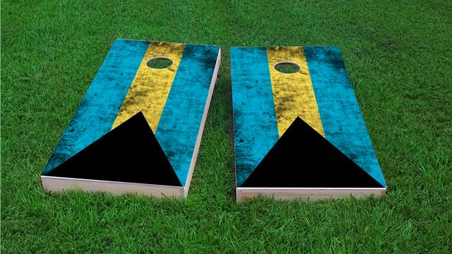 Worn National (Bahamas) Flag Themed Custom Cornhole Board Design