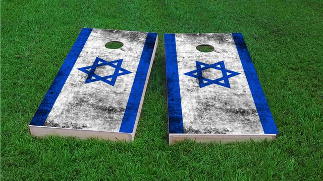 Worn National (Israel) Flag Themed Custom Cornhole Board Design