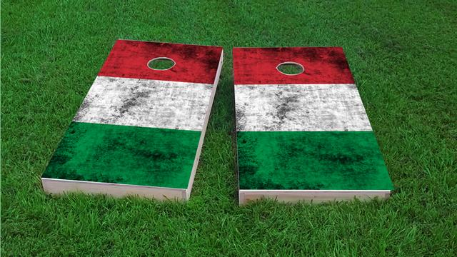 Worn National (Italy) Flag Themed Custom Cornhole Board Design