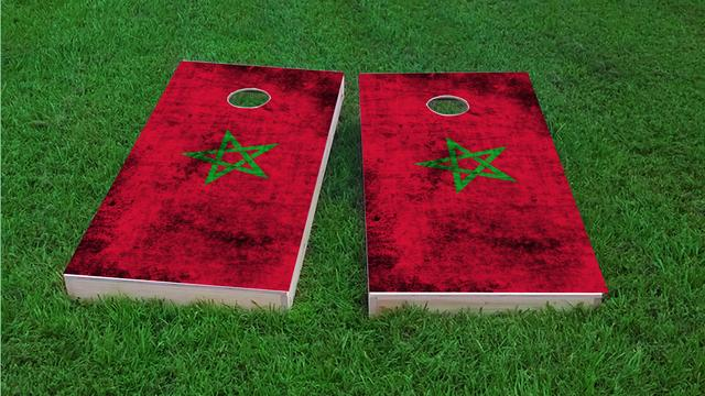 Worn National (Morocco) Flag Themed Custom Cornhole Board Design