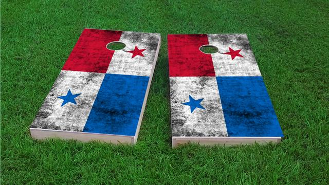 Worn National (Panama) Flag Themed Custom Cornhole Board Design