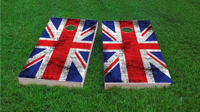 Worn National (United Kingdom) Flag Themed Custom Cornhole Board Design