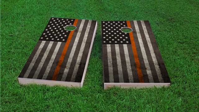 American Thin Orange (EMS) Line Themed Custom Cornhole Board Design