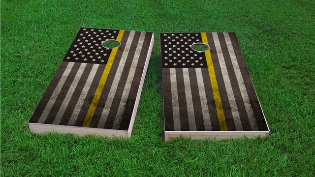 American Thin Gold (Dispatcher) Line Themed Custom Cornhole Board Design