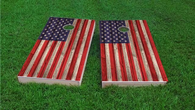American Flag Wood Slat Themed Custom Cornhole Board Design