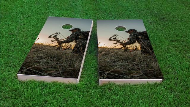 Bow Hunting #2 Themed Custom Cornhole Board Design