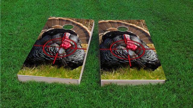Turkey Hunting #2 Themed Custom Cornhole Board Design