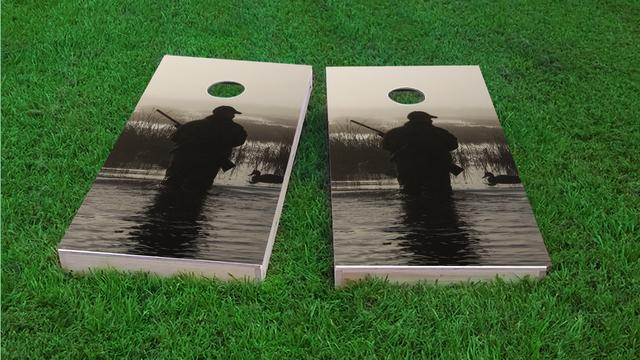 Hunter Themed Custom Cornhole Board Design