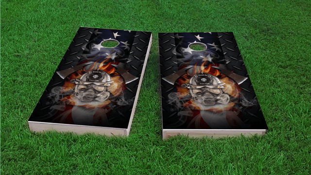 Firefighter - First In Last Out Themed Custom Cornhole Board Design