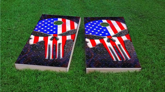 Punisher American Flag Themed Custom Cornhole Board Design