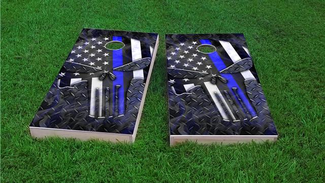 Punisher American Flag Thin Blue Line Themed Custom Cornhole Board Design