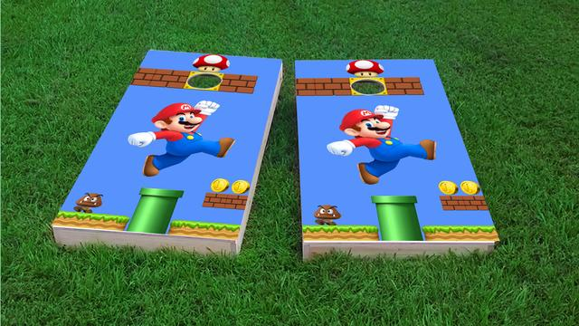 Super Mario Brother - Mario Themed Custom Cornhole Board Design