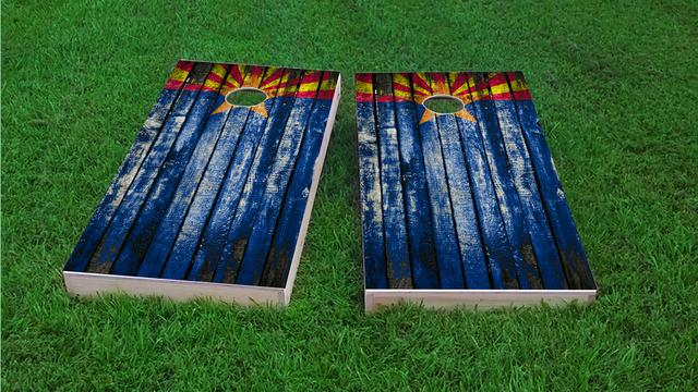 Distressed Wood Flag (Arizona) Themed Custom Cornhole Board Design
