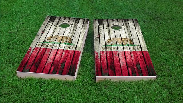 Distressed Wood Flag (California) Themed Custom Cornhole Board Design