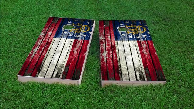 Distressed Wood Flag (Georgia) Themed Custom Cornhole Board Design