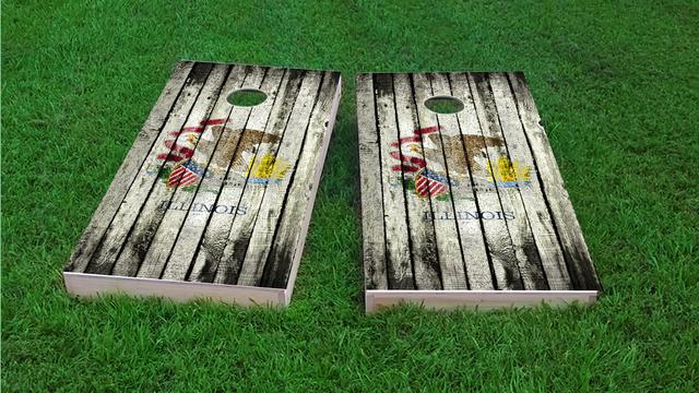 Distressed Wood Flag (Illinois) Themed Custom Cornhole Board Design