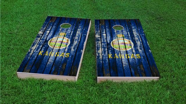 Distressed Wood Flag (Kansas) Themed Custom Cornhole Board Design