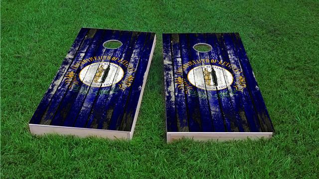 Distressed Wood Flag (Kentucky) Themed Custom Cornhole Board Design