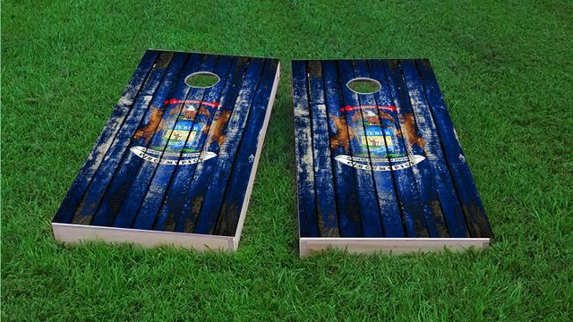 Distressed Wood Flag (Michigan) Themed Custom Cornhole Board Design