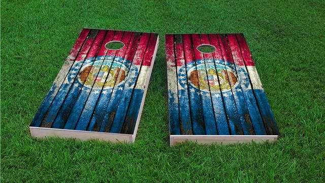 Distressed Wood Flag (Missouri) Themed Custom Cornhole Board Design