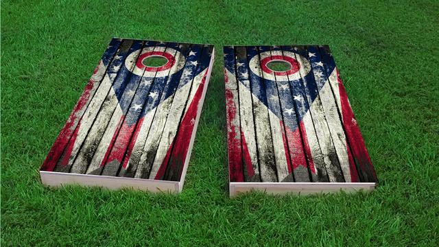 Distressed Wood Flag (Ohio) Themed Custom Cornhole Board Design