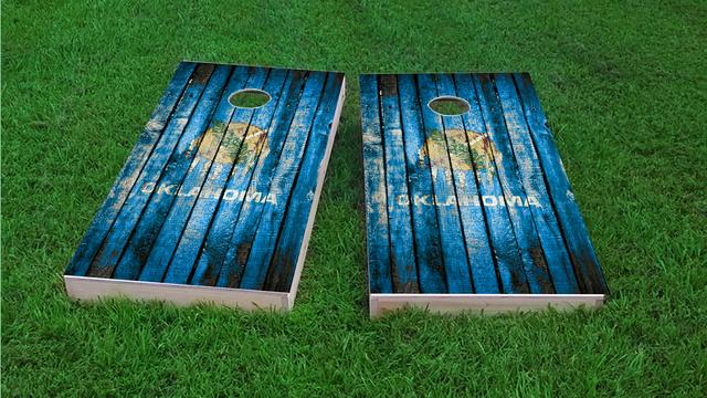 Distressed Wood Flag (Oklahoma) Themed Custom Cornhole Board Design