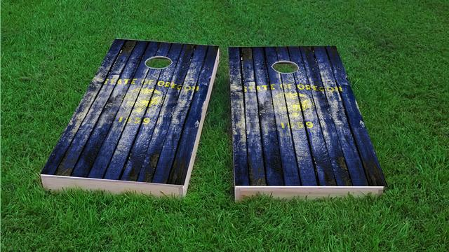 Distressed Wood Flag (Oregon) Themed Custom Cornhole Board Design