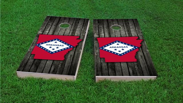 Wood Slate State Flag & Map (Arkansas) Themed Custom Cornhole Board Design