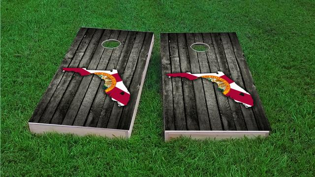 Wood Slate State Flag & Map (Florida) Themed Custom Cornhole Board Design