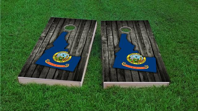 Wood Slate State Flag & Map (Idaho) Themed Custom Cornhole Board Design