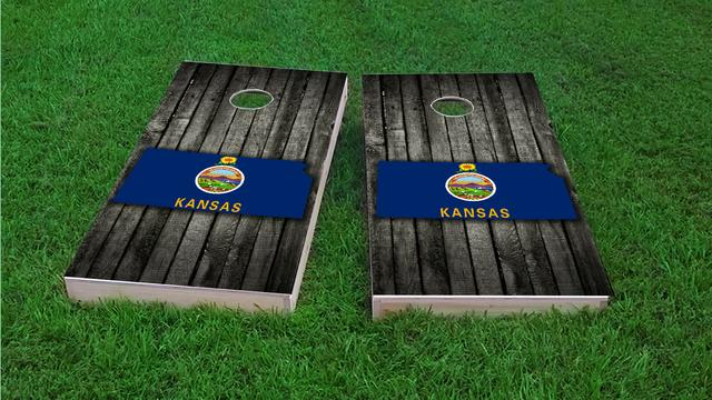 Wood Slate State Flag & Map (Kansas) Themed Custom Cornhole Board Design