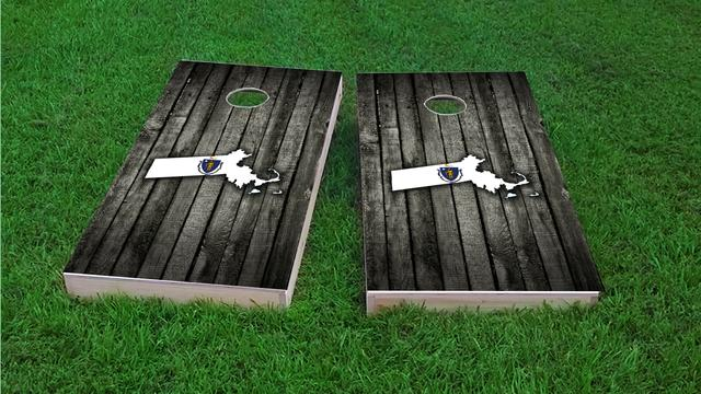 Wood Slate State Flag & Map (Massachusetts) Themed Custom Cornhole Board Design